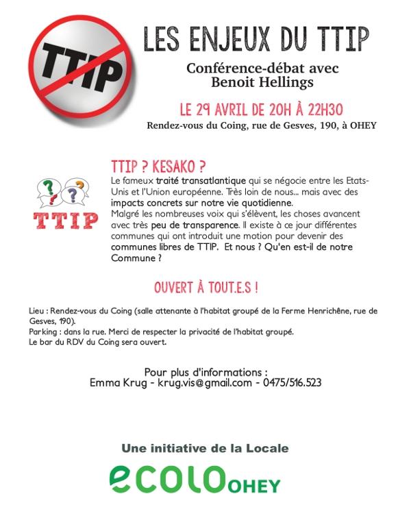 Les enjeux du Ttip, conférence débat ce 29 avril à Ohey